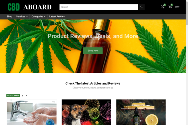 cbdaboard.com - Starter Site for sale in the Food and Drink industry