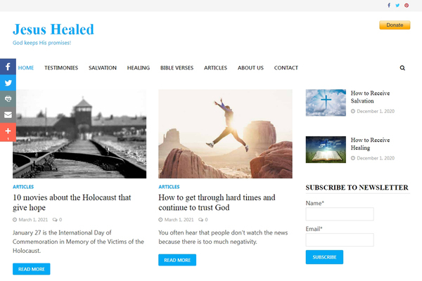 Website about Healing - Adsense Approved - Jesus Healed is Working Wordpress Website (Blog). This is a Christian website about physical healing. Adsense Approved to monetize the website.