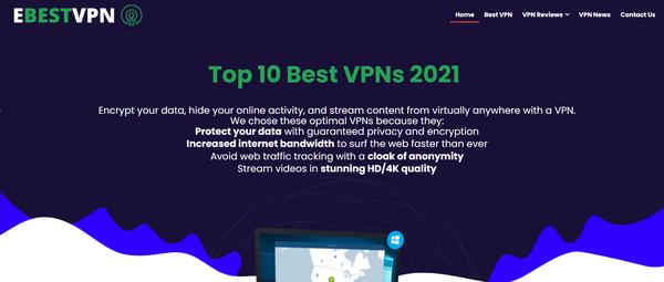 ebestvpn.com - Premium Designed VPN Reviews Affiliate Website. Earning per click Up To 190$.