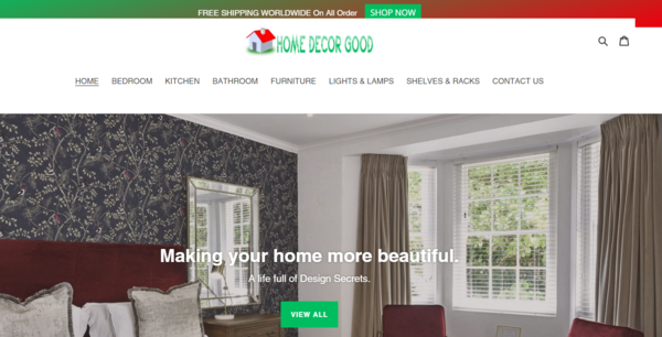 HomeDecorDesk.com - Home Decor Dropship Store-BIg Niche-Pro Design-Newbie Friendly-$1.5KBIN Bonus