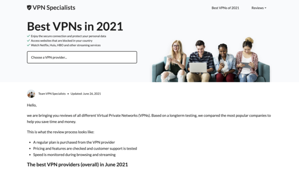 VPNspecialists.com - Beginner friendly VPN affiliate site for passive income.