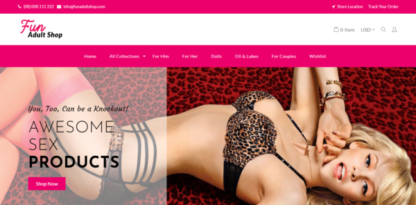 FunAdultShop.com - Premium Automated Adult Toy Drop Shipping Store Dom worth $1,024 (USD)