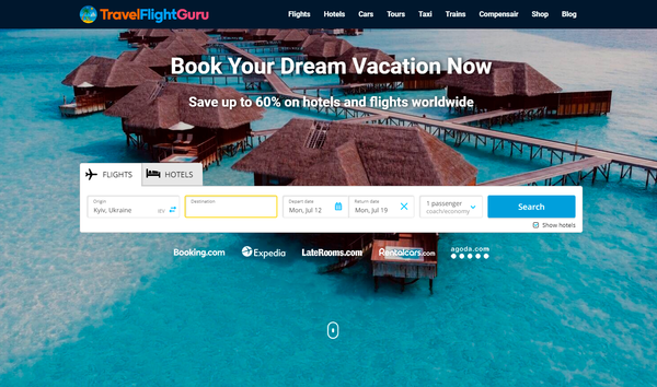TravelFlightGuru.com - Automated Travel Site For Passive Income, Earn Up To $10k/mo on Flights, Hotels