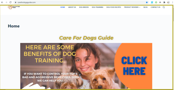 carefordogsguide.com - 1yo - Dog Training Blog - Product Reviews - Monetized with 2 Affiliate Products