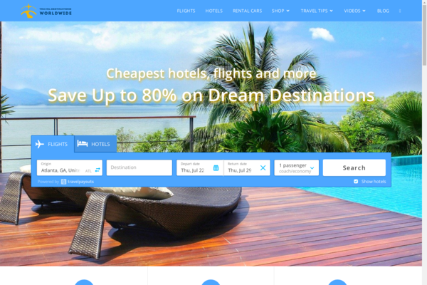 TravelDestinationsWorldwide.com - Hotel, Flight & Travel Search Engine. Domain Value $1,048. Top Earning Potential