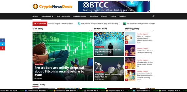 CryptoNewsDeals.com - Autopilot Crypto Bitcoin News Magazine Blog To Make Money Online