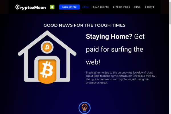 cryptozmoon.com - Crypto Mining Affiliate website with free Android App.