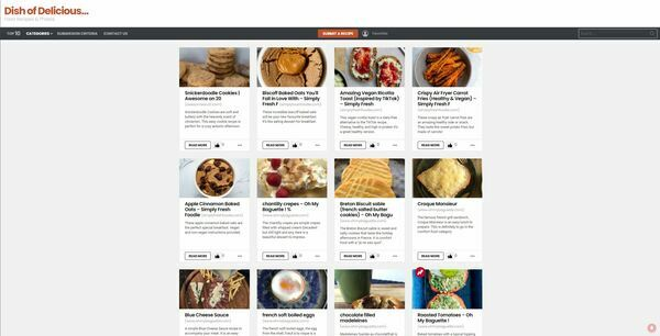 Dish of Delicious - The website is a directory for recipes, food bloggers can submit their recipes by simply pasting the link, the website scrapes the rest automatically