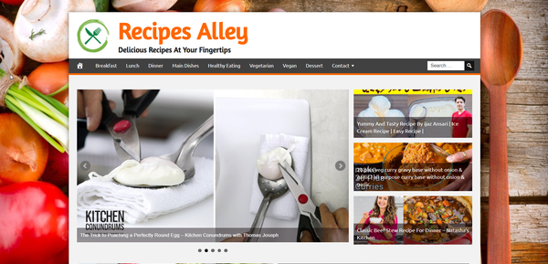 RecipesAlley.com - Food and Cooking Recipes - Killer Design - Fully Automated - BIN BONUS