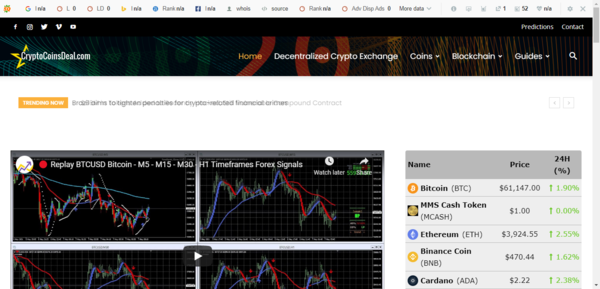 CryptoCoinsDeal.com - Be the first to own Profitable Crypto trading News, Website in Evergreen Niche! PROFITABLE MARKET with money-making opportunities. BTC at 60k hurry up!