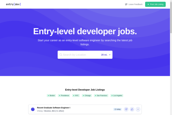 entry.dev - Fully Automated Job Board for Entry-level Developers