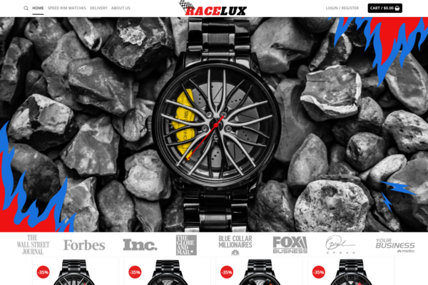 RaceLux.com - Car Rim Brand Watches Dropshipping Store, Earn Up To $5000/Month| Domain: $1427