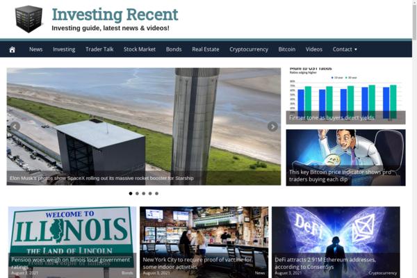 InvestingRecent.com - Premium Design Investment Advice Website - Fully Automated - Amazon & Ad Income