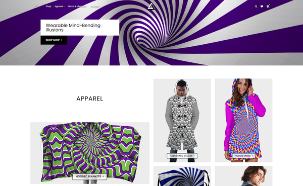Illusionist.shop 380+ Unique Illusion Apparel & Lifestyle Products - Print On Demand, WooCommerce  - A print-on-demand WooCommerce website with over 380 uniquely designed products on a bespoke theme. Ready to start selling!