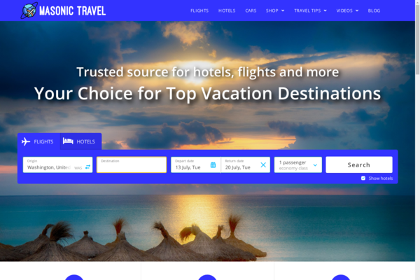 MasonicTravel.com - Hotel, Flight, & Travel Search Engine. Domain Value $1308. Earn Up To $7k /Month
