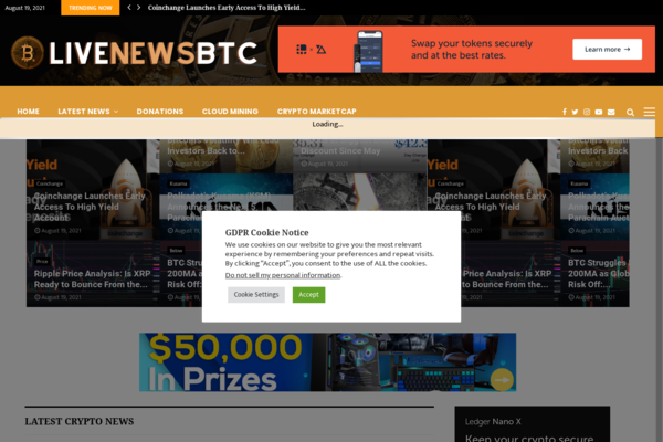 livenewsbtc.com - Fully Autopilot Crypto News & Marketcap Site (Domain Value $1,404 - Earn $5K/Mo)