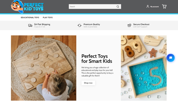 perfectkidtoys.com - Sales Ready eCommerce Store in Kids' Niche with Instagram Page (1150+ Followers)