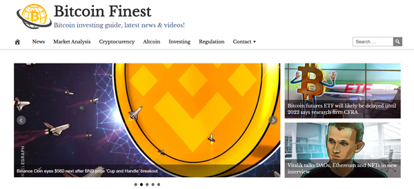 BitcoinFinest.com - 100% Automated, Premium Design, Hot Niche BITCOIN Cryptocurrency Site, Amazon, CB