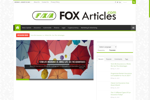 foxarticles.com - Google AdSense Approved | 70+ High CPC keywords Rank | Domain Authority 17