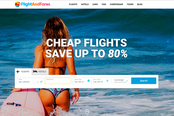 FlightAndFares.com - Automated Travel Affiliate Site To Make Money Online From Affiliate Commissions on Flights, Hotels, Tours, Cars + AFFILIATE ACCOUNT INCLUDED