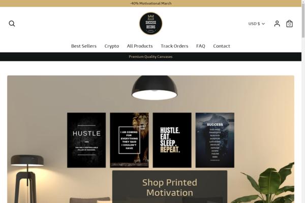 successdecors.com - POD Shopify store selling Motivational Canvases