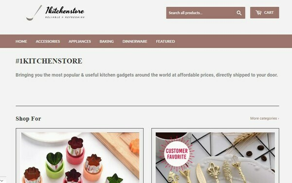 1KitchenStore.com - Shopify Dropshipping Store in Kitchen Niche, $2000 Monthly Profit, 170 followers