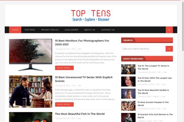 gettoptens.com - starter site for sale in Internet niche.