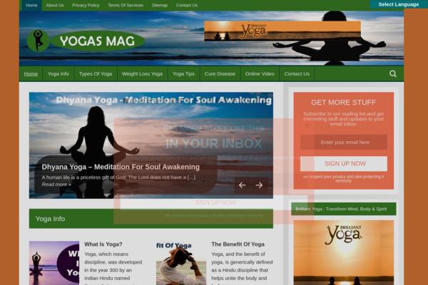 YogasMag.com - Yoga Blog-Huge & Lucrative Niche-Pro Design-$1.5KBINBonus-NEWBIE Friendly