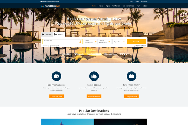 TravelBookingEasy.com - AUTOMATED TRAVEL Affiliate Site - Unlimited Potential - FREE HOSTING