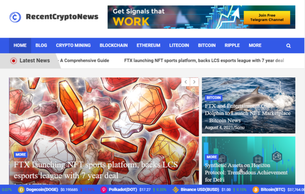 recentcryptonews.com - Fully Automatic Crypto Currency News Blog Website. Estimated Value: $905 (USD).
