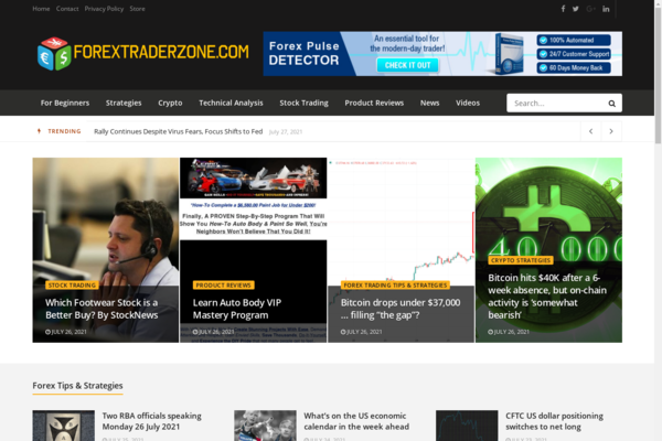 ForexTraderZone.com - 100% Automated Forex News Site - Passive Income & Great Potential!