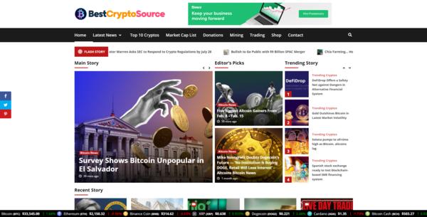 BestCryptoSource.com - Autopilot Crypto Bitcoin News Magazine Blog To Make Money Online
