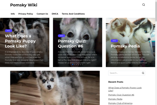 pomskywiki.com - Blog about dogs, animals. Organic traffic. Website on WordPress