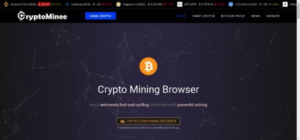 cryptominee.com - Crypto Mining Affiliate website - Changelly Affilaite / Crypto Donation.
