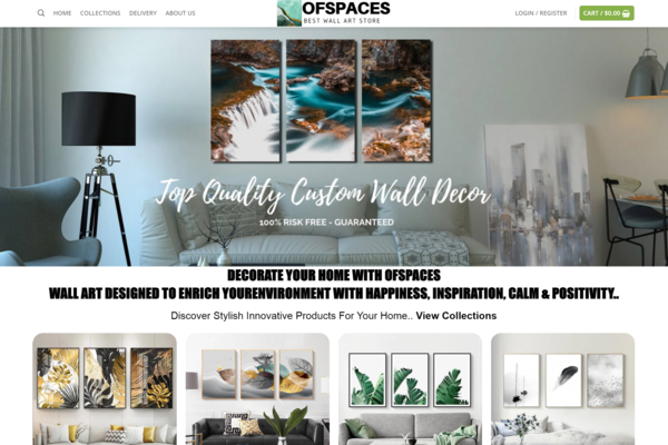 OfSpaces.com - Wall Art Dropshipping Store with Exceptional Growth Potential Over 800+ Products