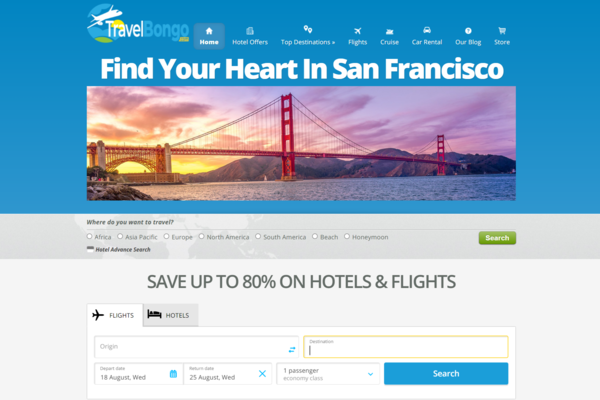 TravelBongo.com - PREMIUM Travel Search Engine & Booking Website Business -EARN up to $2.00 p/Lead