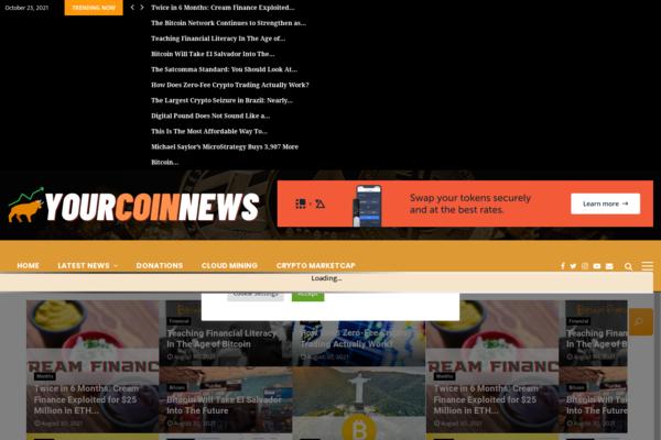 YourCoinNews.com - YourCoinNews.com - Fully Autopilot Crypto News & Marketcap Site (Earn $5K/Mo)