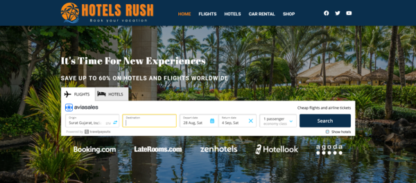 HotelsRush.com - Automated Travel Site For Passive Income, Earn Up To $10k/mo on Flights, Hotels