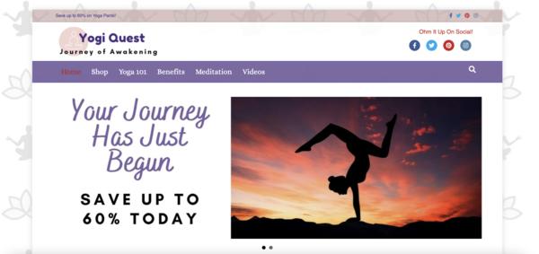 YogiQuest.com - Optimized & Fast. 100% Automated Yoga eStore/Blog - Amazon Income - BIN Bonus.