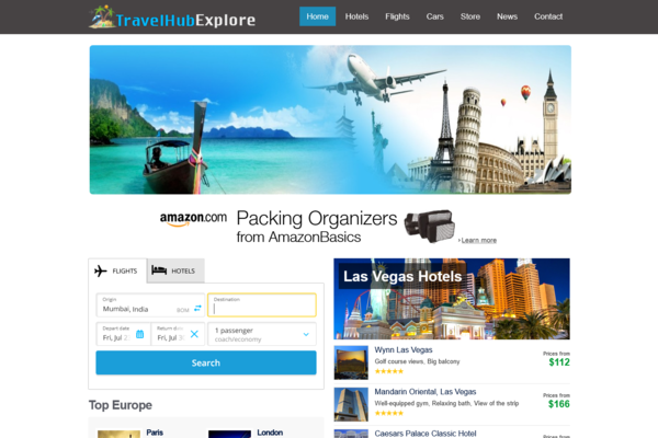 TravelHubExplore.com - Fully Automated Hotel, Flight & Car Rental Website - Huge Profitable, No Reserve