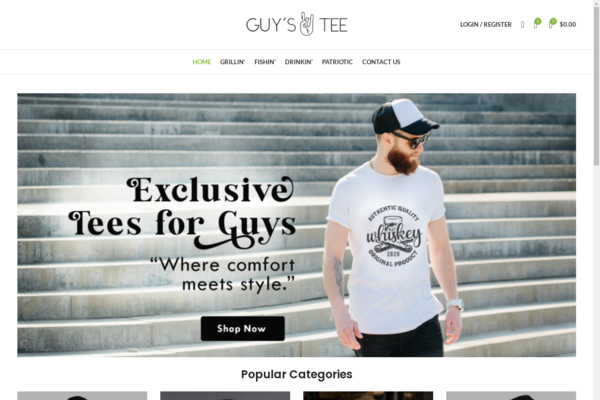 GuysTee.com - NR! Highly Brandable, Men's T-shirt ECOM Store with US Supplier/ Fast Shipping