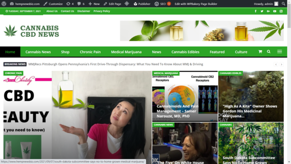 hempnewsbiz.com - 100% automated cannabis news and affiliate products website  for passive income