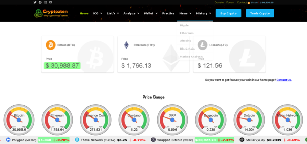 cryptozten.com - Crypto is Booming - 100% Automated Cryptocurrency Live Price Index, News & Tools