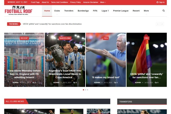 FootballRoof.com - Fully Automated Football News Site + 1 Year Free Hosting -Domain Value: $1417