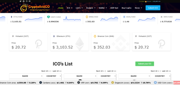 CryptolistICO.com - Automated Cryptocurrency News/Live Price Index/Get paid for listing ICO