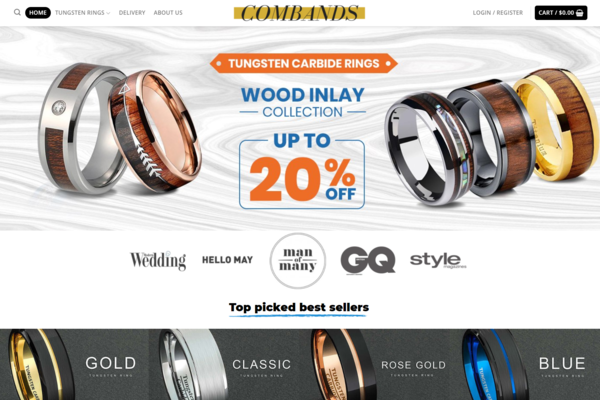 ComBands.com - Unique Tungsten Rings Dropshipping Store, Earn Up To $5000/M| Domain: $1864