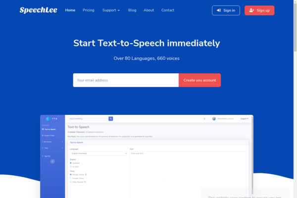 Speechlee - Text to Speech - SaaS Ready - Start Text to Speech as a SAAS, Over 80 Languages, 660 voices with own Affiliate program including 10K relevant emails, one year free hosting & more bonuses.
