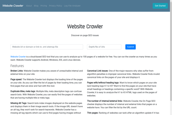 websitecrawler.org - Online SEO software - On Page SEO checker for sale