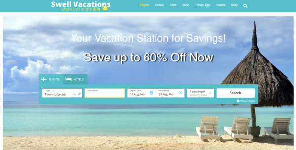 SwellVacations.com - 100% Automated - Travel Comparison Search Engine - Hotels, Flights, Cars & More!