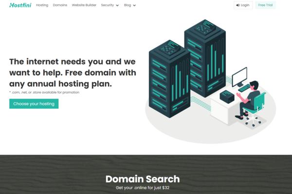 hostfini.com - A sleek hosting website that also sells domains, VPNs, premium SSL certificates,